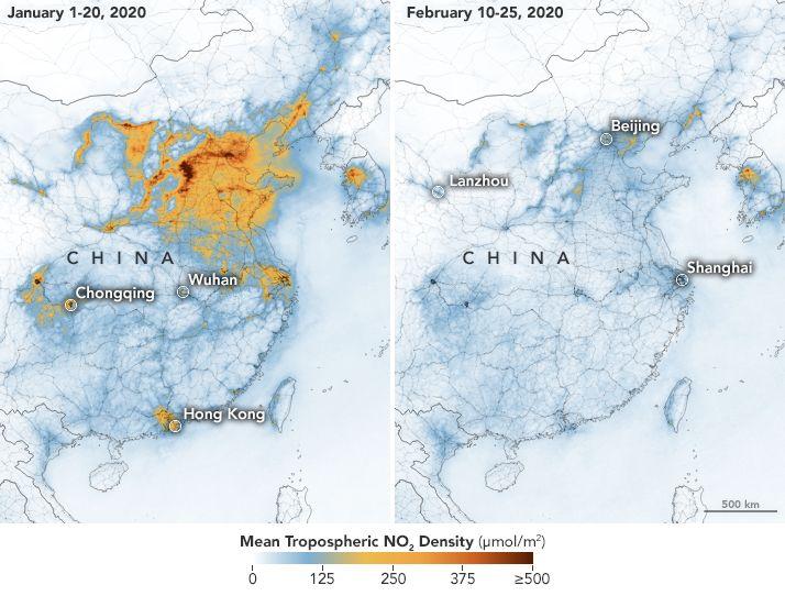 Smog nad Chinami w okresie styczeń 2020 i luty 2020