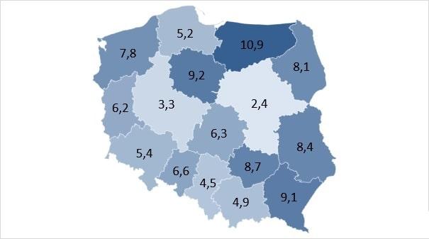 Stopa bezrobocia [%] w Polsce na koniec stycznia 2019