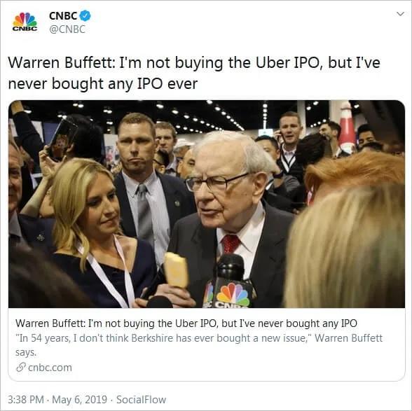 Co sam Warren Buffett mówi ogólnie o IPO?