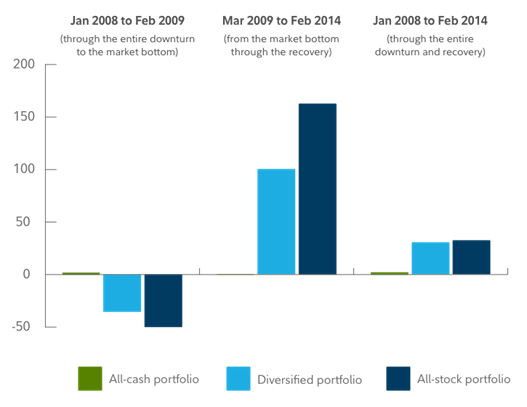 Różnica w zachowaniu się portfela zdywersyfikowanego i niezdywersyfikowanego w latach 2008 - 2014