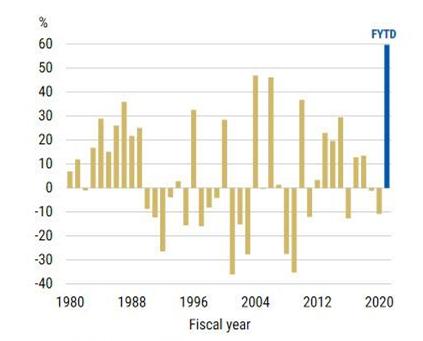 Stopa zwrotu z indeksu Nikkei 225 w pojedynczych latach fiskalnych od 1980 roku