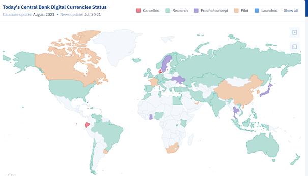 Status wprowadzania cyfrowych walut centralnych na świecie
